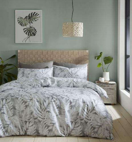Catherine Lansfield Montego Leaf Grey Bedding Set